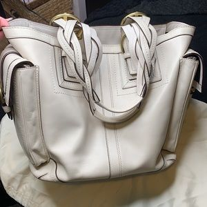 Vintage Coach Soho Mia large leather ivory tote